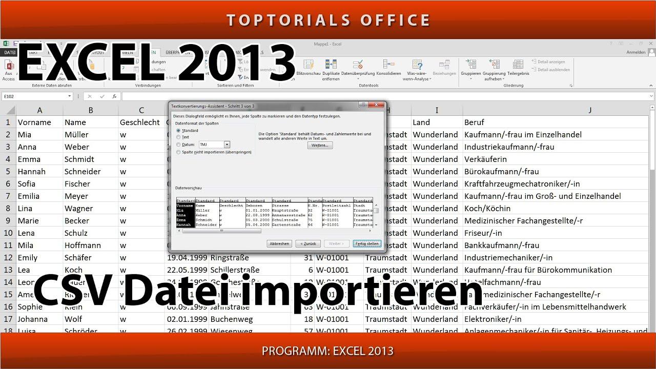CSV Datei importieren mit und ohne Verknüpfung (Excel) - YouTube