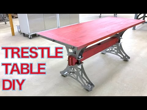 Cool Industrial Trestle Table Build Diy Kit For Kitchen Dining Coffee Conference Youtube