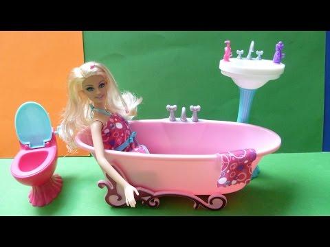 Đồ Chơi Phòng Tắm Của Búp Bê Barbie Mới (Bí Đỏ)❤ Barbie Glam Bathroom Furniture and Doll Set