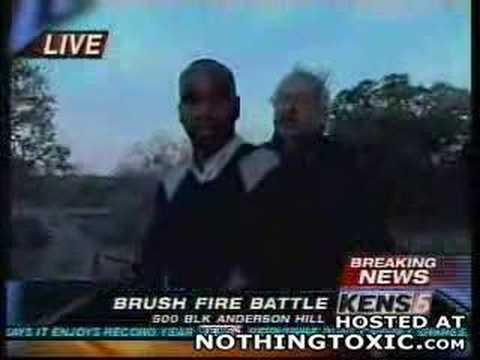 A  property owner interrupts a news report