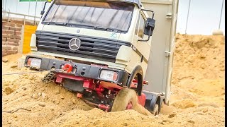 R/C truck gets STUCK! RC Mercedes-Benz RESCUE by an excavator!