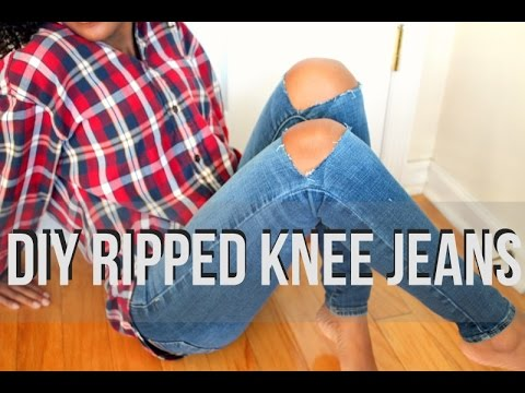 DIY RIPPED KNEE JEANS ✄ - YouTube