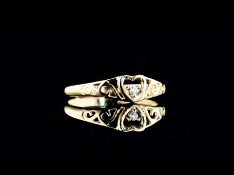 Diamond Heart Promise Ring in 10K Yellow Gold | MyJewelryBox