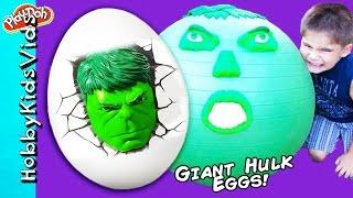 Giant HULK Surprise Eggs! HERO Smash Toys + Sandbox Water Family Fun HobbyKidsVids