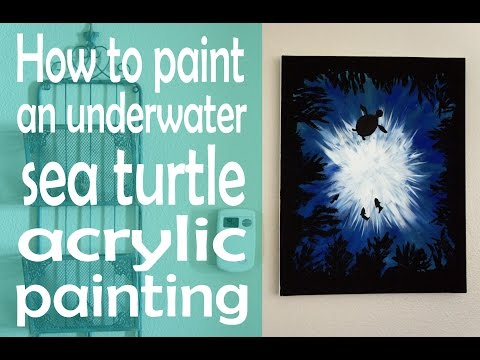 How to Paint an Underwater Sea Turtle Acrylic Painting