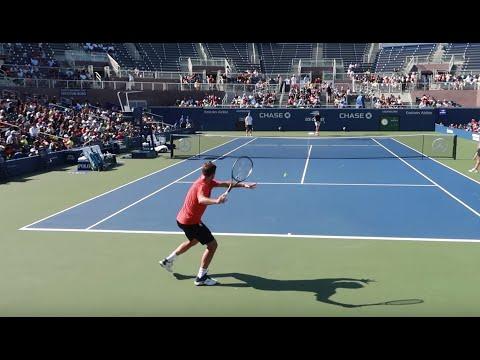 Stan Wawrinka Heavy Hitting US Open 2019 Court Level View