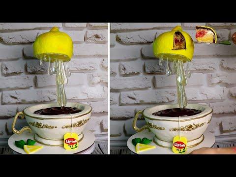 Антигравитационная подставка для торта - своими руками. 3Д-торт Чашка и Лимон