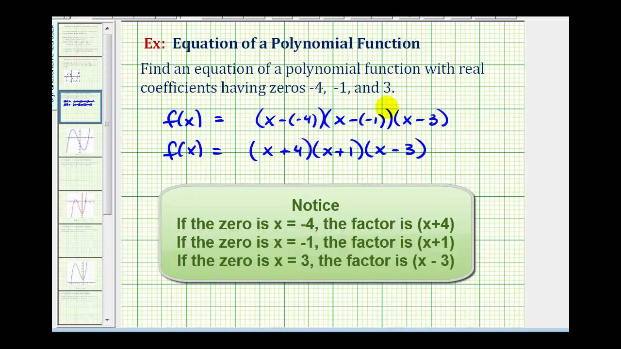 write a polynomial function of least degree with integral coefficients that has the given zeros
