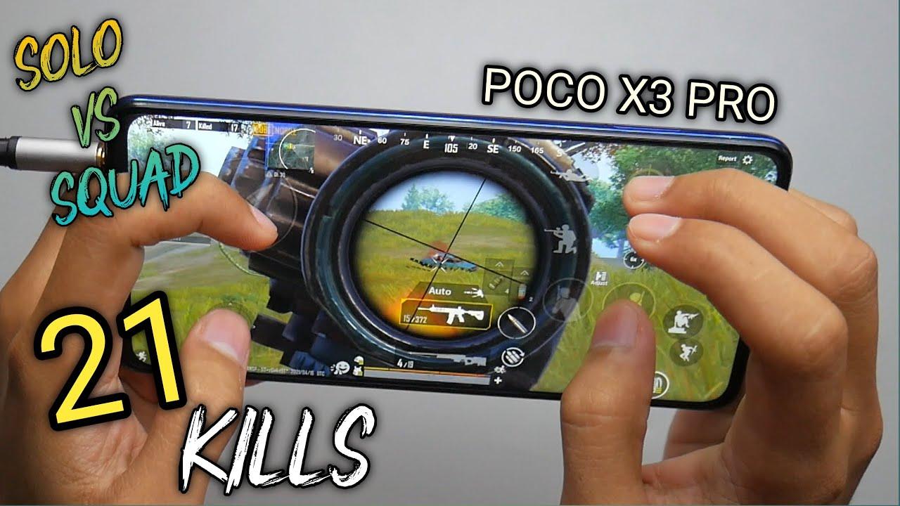 POCO X3 Pro PUBG 5 Finger + Gyro Solo Vs Squad 21 KIlls ( Full Handcam )