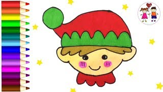 How To Draw A Christmas Elf Face | Coloring Page For Kids And Leaning For Children.