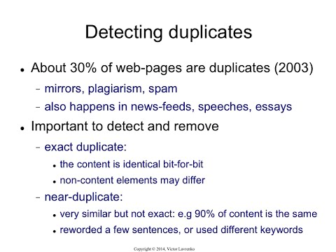 LSH.1 Exact duplicates and near-duplicates
