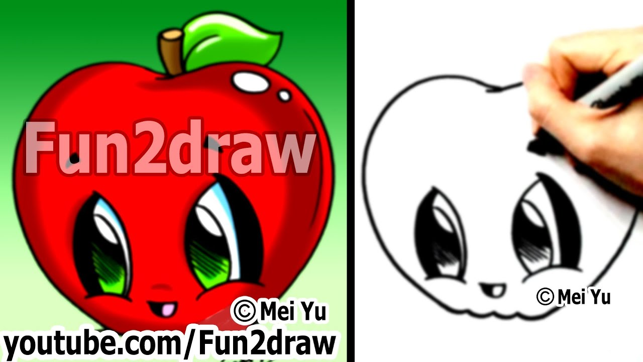 How To Draw Easy  Kawaii Drawings  How To Draw Food  Apple  Learn To  Draw  Fun2draw  Youtube