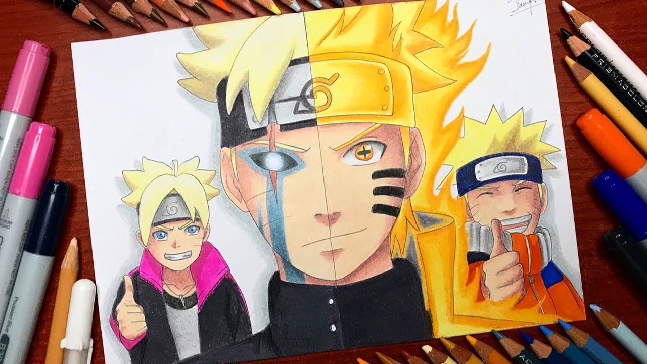 Speed Drawing Boruto Jougan X Naruto Kyuubi Six Paths Sage Mode