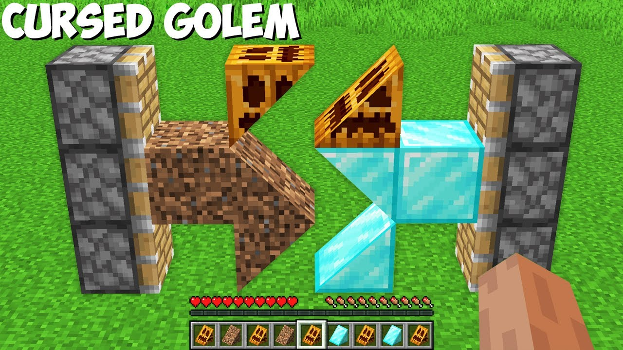 How to CREATE CURSED DOUBLE GOLEM in Minecraft ? DIAMOND DIRT GOLEM !