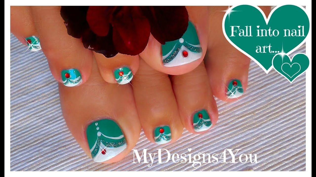 French Tip Toenail Art | Green MadamGlam Toenails ♥ Diseño de Uñas ...