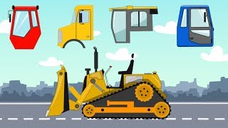 Learn Construction vehicles Name and Sound Dump Truck & Bulldozer with wrong Cabin | Kids video