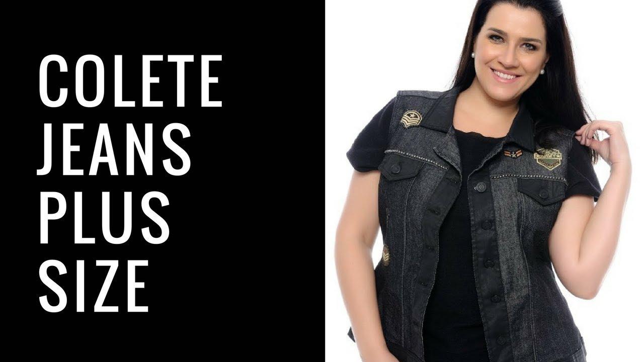 2a69450ef Colete Jeans Plus Size Feminino com Detalhes   UNIVERSO PLUS - YouTube
