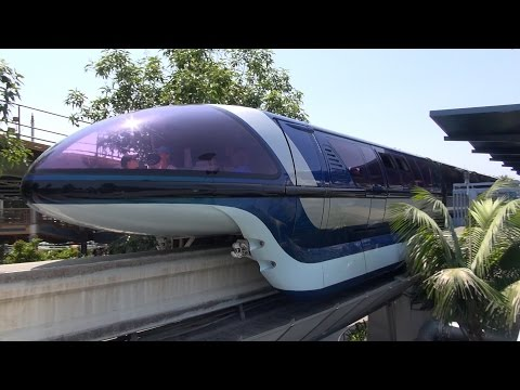 Disneyland Monorail FULL Ride from Front Cab, Grand Circle Tour 2015, Through DCA, Downtown Disney