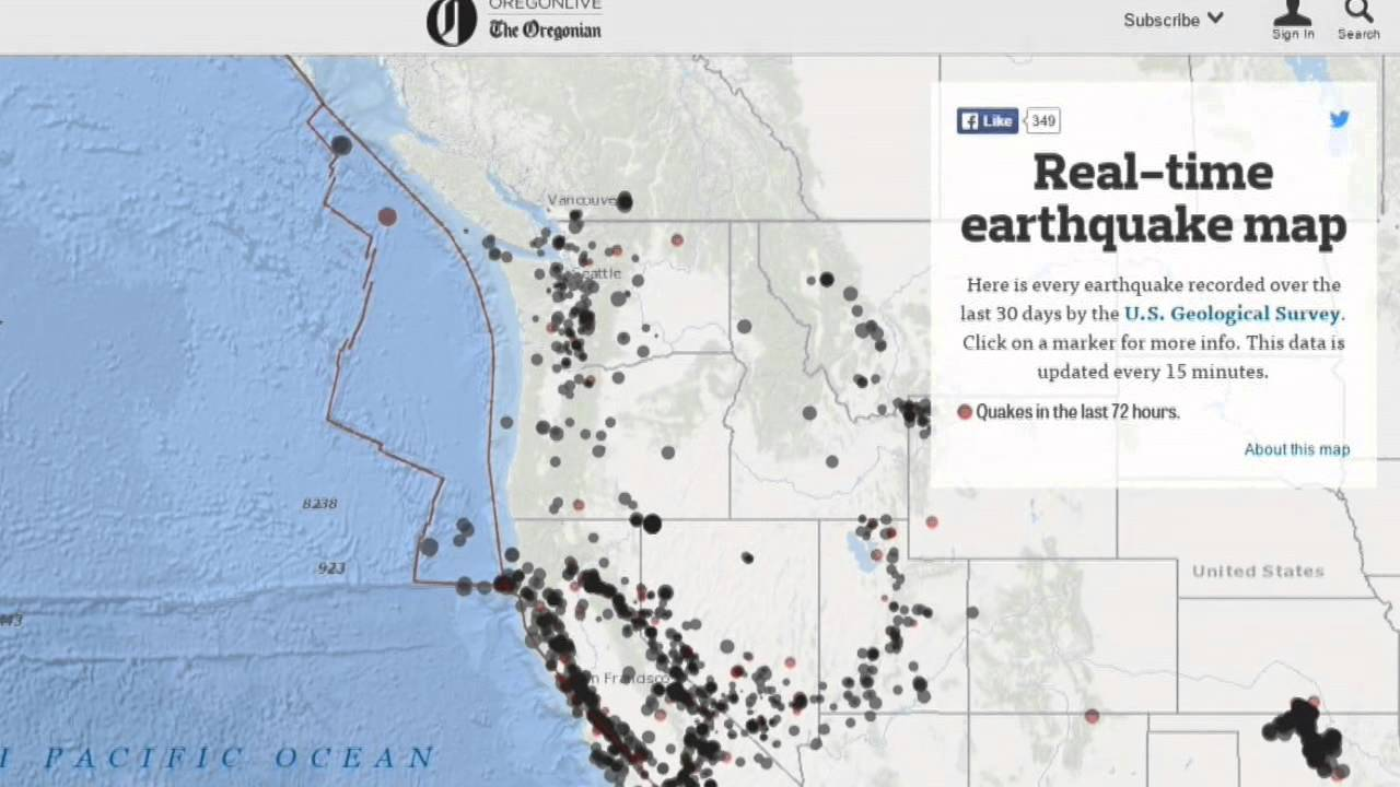 The Oregonian created a near real time earthquake map for Oregon