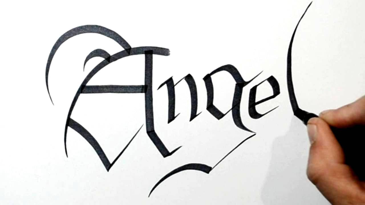 Writing Angel In Olde English Calligraphy Style Lettering