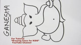How to Draw- Easy Lord Ganpati Ganesha Step by Step Tutorial for Kids