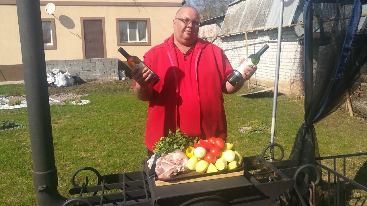 Индейка с овощами в белом вине в казане. Хашлама. #индейка #казан #печь #хашлама