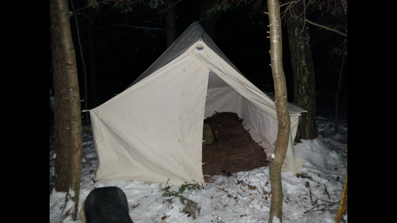 & Bushcraft Browse Bed - Winter Hot Tent Overnight - YouTube