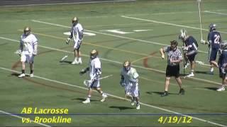 Acton Boxborough Varsity Lacrosse vs Brookline 4/19/12