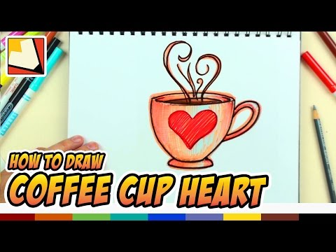 How To Draw Coffee Cup Heart Love Design