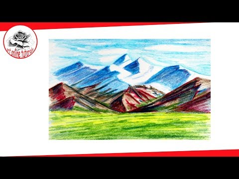How to Draw Mountains Landscape with Colored Pencils – Easy Drawing Techniques