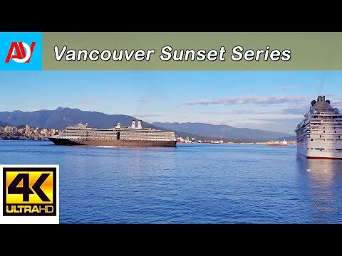 Vancouver SUNSET MINUTE: COAL HARBOUR 1, CRUISE SHIPS - 4K