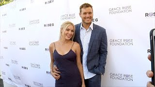 Cassie Randolph and Colton Underwood 16th Annual Grace Rose Fashion Fundraiser Purple Carpet