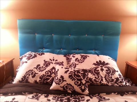DIY: Easy Upholstered/Tufted Floating Headboard w/Crystal Buttons Bling (Cardboard) **UNDER $50
