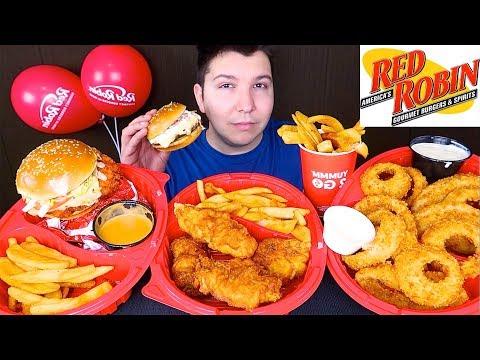 Red Robin • Cheeseburger, Onion Rings, Spicy Chicken, Fish & Chips  • MUKBANG