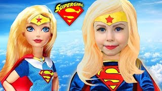 Kids Makeup Super Hero Girls Cosplay for Little Heroes with Colors Paints and doll