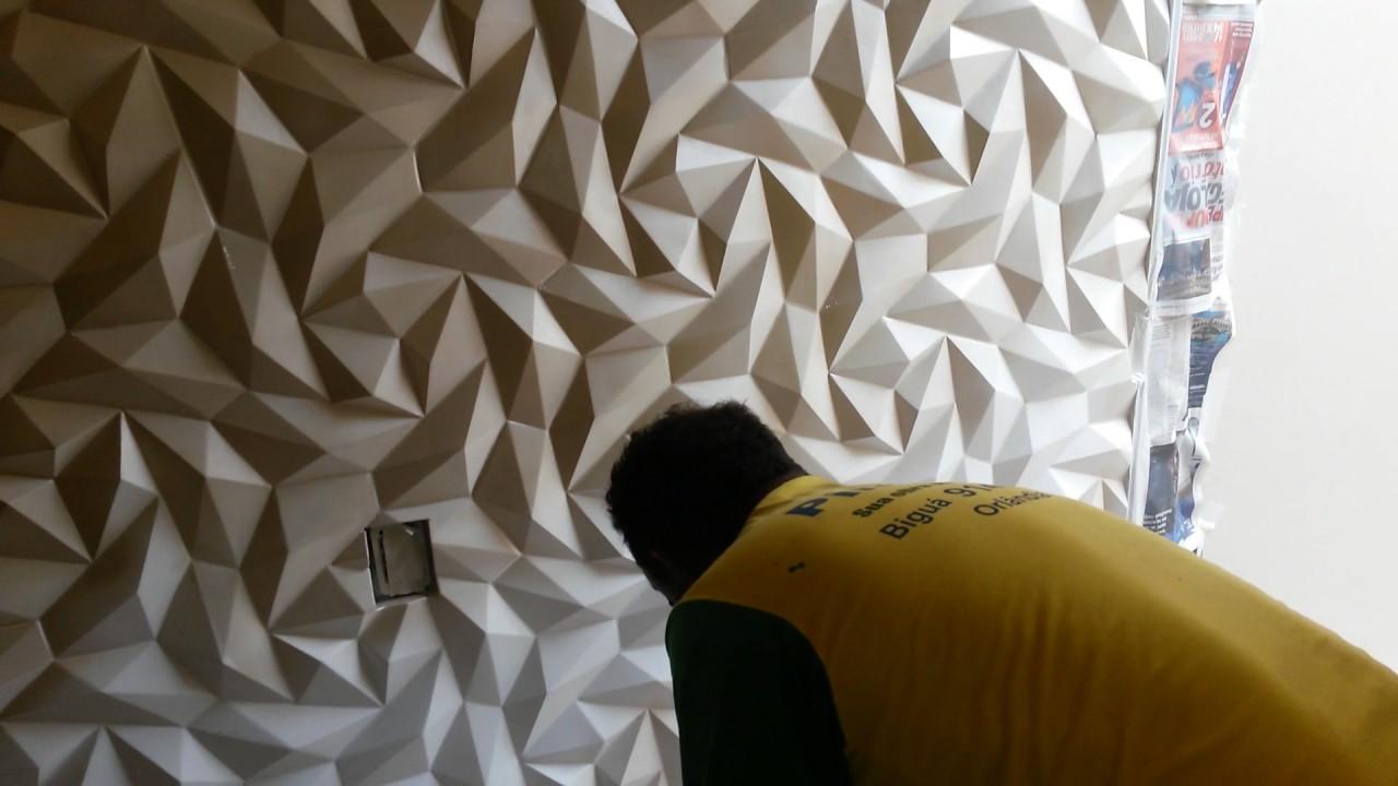 Parede gesso 3d pintura metalizada youtube for Papel pintado para paredes 3d