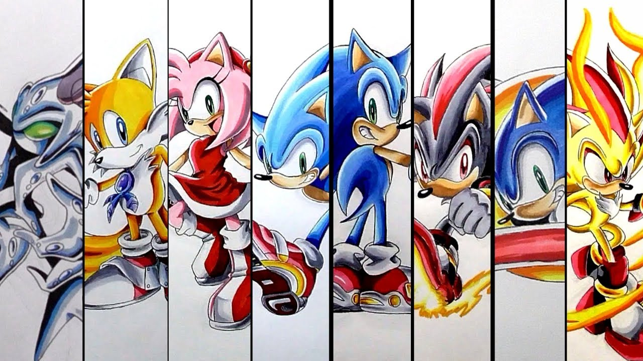 This is a graphic of Bright Drawing Sonic Characters