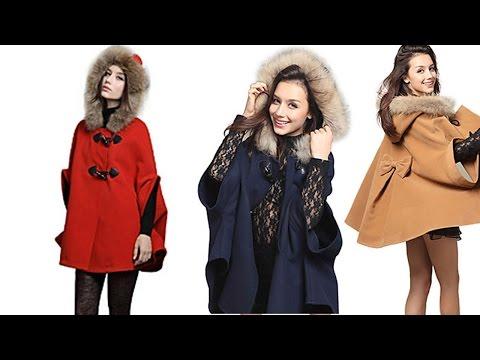 Женское пальто на каждый день.. Winter Hooded Faux Fur Collar Woolen Blend Cape Coat