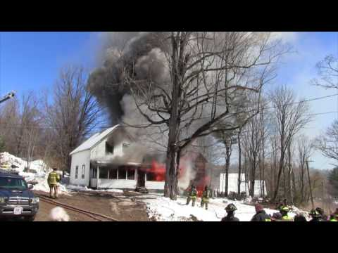 Controlled burn - Lyndeborough, NH - complete house burning at 3x speed