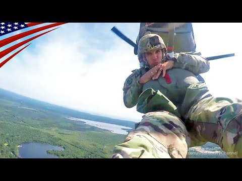 [GoPro View] US Paratrooper Airborne Jump from CH-47 Chinook Using MC-6 Parachute