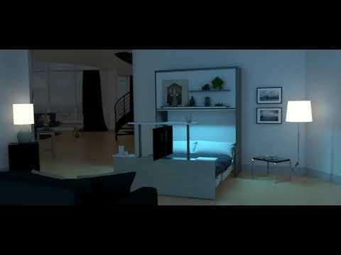Lit escamotable avec TV en pied de lit MIRAGE