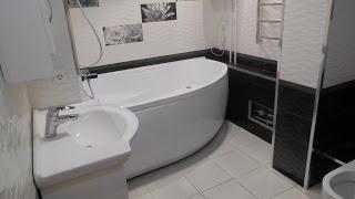 Дизайн ванной комнаты плитка двух цветов черный и белый