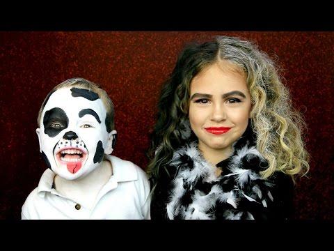 Cruella De Vil and Dalmatian Puppy Makeup Costume Tutorial
