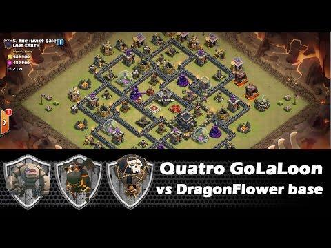 Quatro GoLaLoon vs DragonFlower Th9 Base - Maxed Defenses - Clash Of Clans