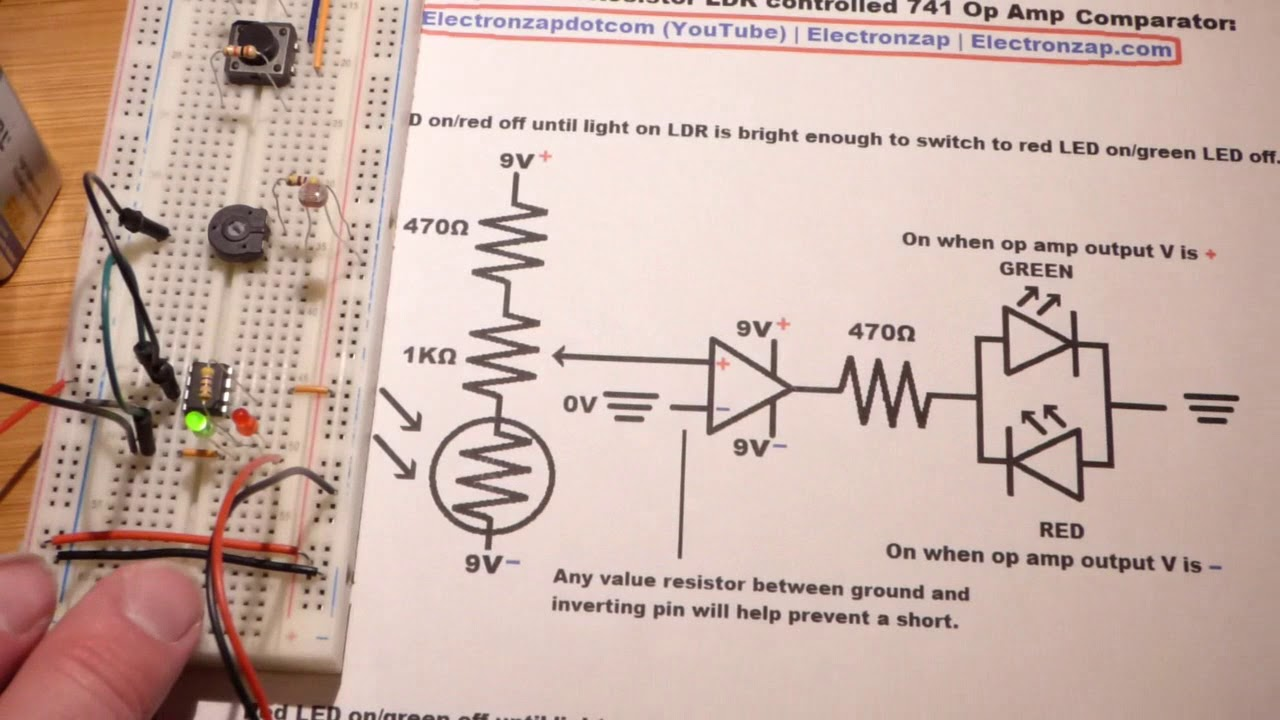 light dependent resistor ldr controlled non inverting 741 op amp comparator circuit by electronzap [ 1280 x 720 Pixel ]