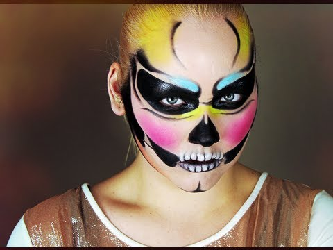 Halloween: Colorful Skull Makeup Tutorial - YouTube
