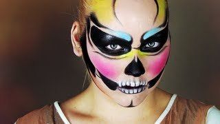 halloween colorful skull makeup tutorial