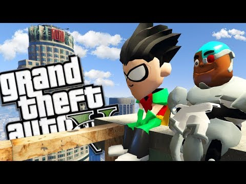 TEEN TITANS GO MOD w/ ROBIN, CYBORG & VILLAINS (GTA 5 PC Mods Gameplay)