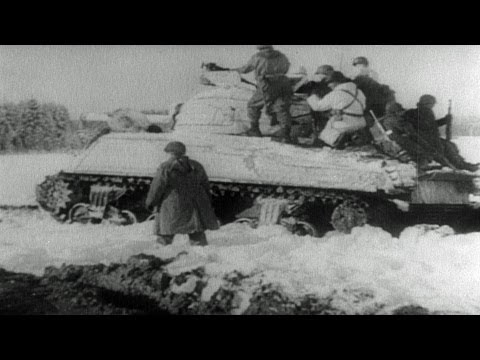 HD Stock Footage WWII Lest We Forget R6 - Battle Of The Bulge, Allies Advance