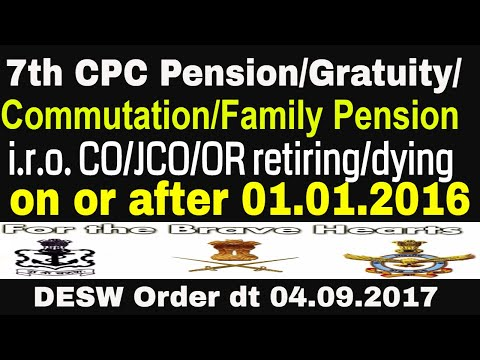 7th CPC – Revision of  Post 2016 provisions regulating Pension/ Gratuity/ Commutation/Family Pension